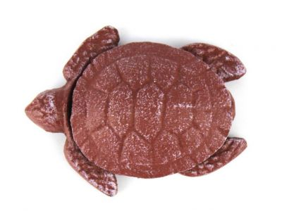 Red Whitewashed Cast Iron Decorative Turtle Paperweight 4""