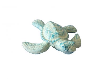 Light Blue Cast Iron Sea Turtle 4