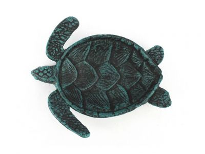 Seaworn Blue Cast Iron Sea Turtle Decorative Bowl 7""