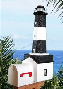 Tybee Island Solar Powered Stucco Lighthouse Mailbox 36