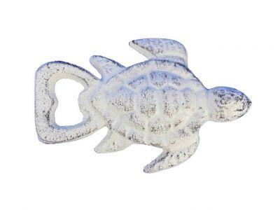 Whitewashed Cast Iron Turtle Bottle Opener 4.5\