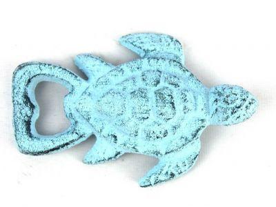 Dark Blue Whitewashed Cast Iron Turtle Bottle Opener 4.5\
