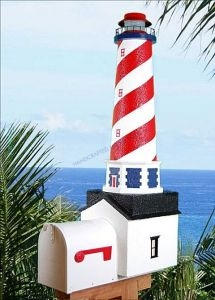 American Solar Powered Stucco Lighthouse Mailbox 36