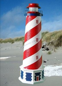 American Stucco Electric Landscape Lighthouse w-Base 28