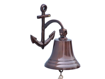 Antique Copper Hanging Anchor Bell 10