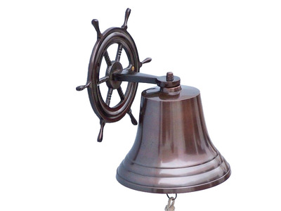 Antique Copper Hanging Ship Wheel Bell 8