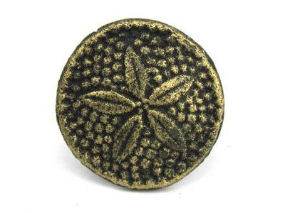 "Antique Gold Cast Iron Sand Dollar Napkin Ring 2"" - set of 2"