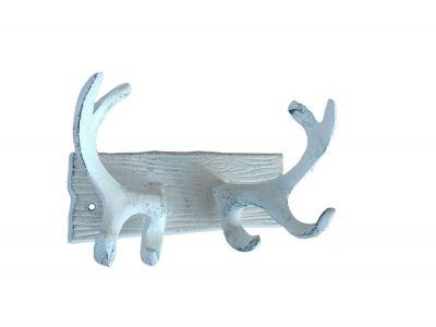 Whitewashed Cast Iron Antler Double Hook 8\