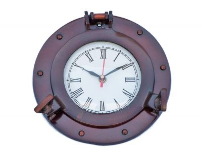 Antique Copper Deluxe Class Porthole Clock 8