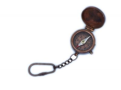 Antique Copper Compass Key Chain with Lid 5\