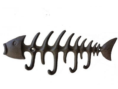 Rustic Iron Fish Bone Key Rack 8