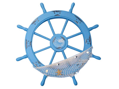 Wooden Maine Rustic Blue Ship Wheel with Netting and Shells 28