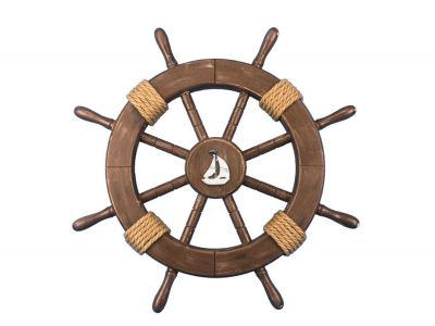 Rustic Wood Finish Ship Wheel with Sailboat 18