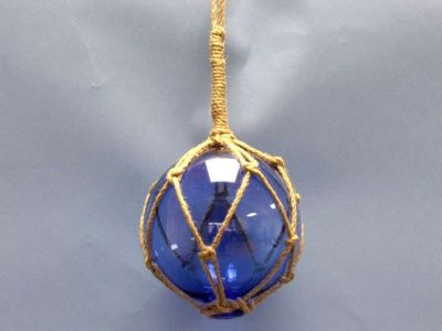 Blue Nautical Glass Float in Rope 6