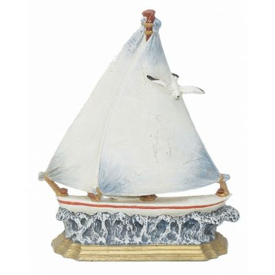 Ceramic White Sailboat w- Seagull Door Stop 14