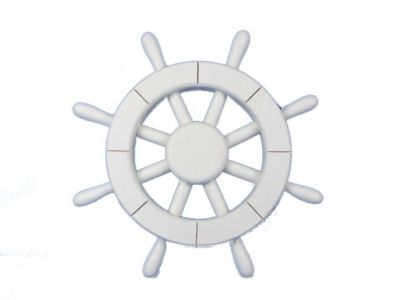 White Decorative Ship Wheel 12\