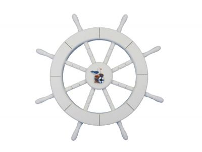 White Ship Wheel with Seagull and Lifering 18