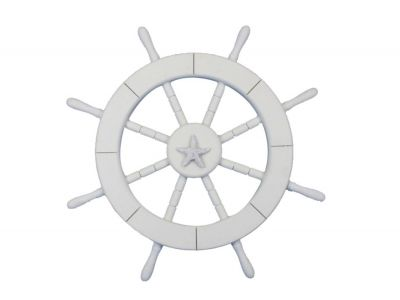 White Ship Wheel with Starfish 18