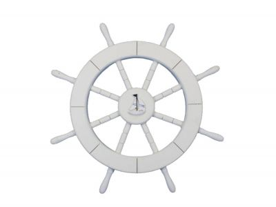 White Ship Wheel with Sailboat 18
