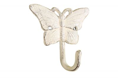 Whitewashed Cast Iron Butterfly Hook 6\