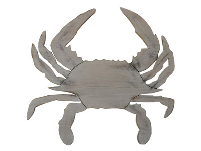 Rustic Whitewashed Wooden Crab 32