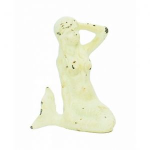 Whitewashed Cast Iron Mermaid 7