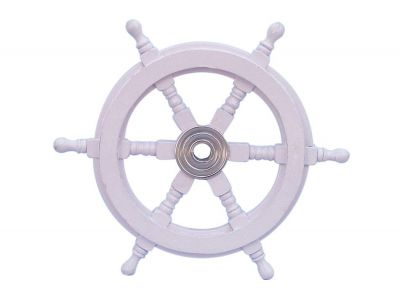 Deluxe Class White Wood and Chrome Ship Steering Wheel 12