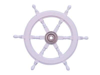 Deluxe Class White Wood and Chrome Ship Steering Wheel 24