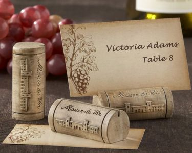 Set of 4 - Wine Cork Place Card and Photo Holder with Grape Theme Cards 2