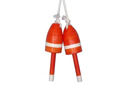 Set of 2 - Wooden Orange Maine Lobster Trap Buoy 7