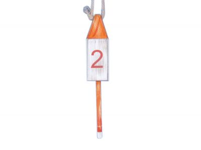 Wooden Vintage Orange Number 2 Squared Buoy 15