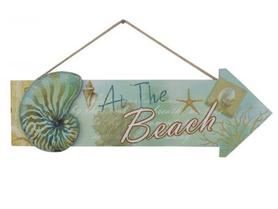 Wooden Arrow At The Beach Seashell Sign 16