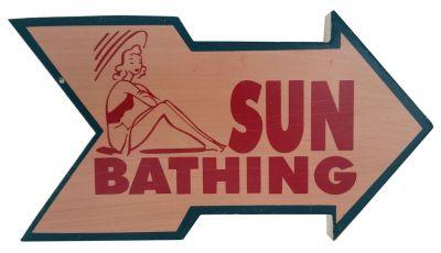 Wooden Arrow Sun Bathing Beach Sign 10