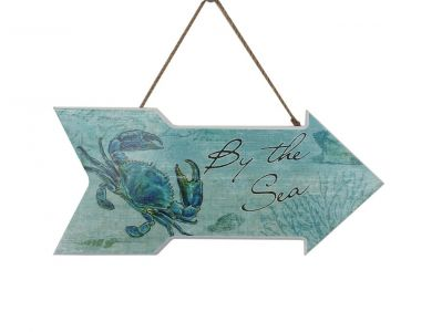Wooden By The Sea Arrow with Crab Beach Sign 14""