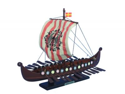 Wooden Viking Drakkar with Embroidered Raven Limited Model Boat 14""