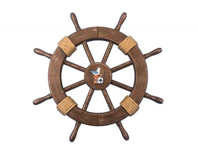Rustic Wood Finish Ship Wheel with Seagull and Lifering 18