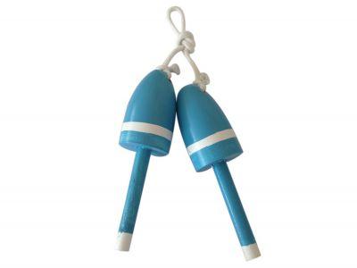 Set of 2 - Wooden Light Blue Decorative Maine Lobster Trap Buoy 7\