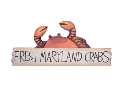Wooden Fresh Maryland Crabs Sign 17