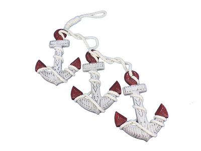 Wooden Rustic Triple Anchor Set 7 - Red