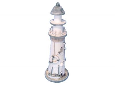 Wooden Blue Lighthouse with White Buoy 14