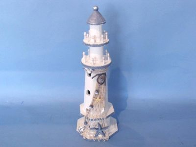 Wooden White Lighthouse with Shells 16