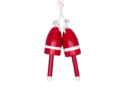 Set of 2 - Wooden Red Maine Lobster Trap Buoy 7
