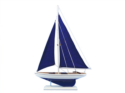 Wooden Blue Pacific Sailer with Blue Sails Model Sailboat Decoration 25\