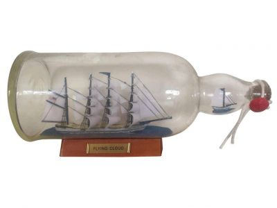 Blue Flying Cloud Ship in a Glass Bottle 11\
