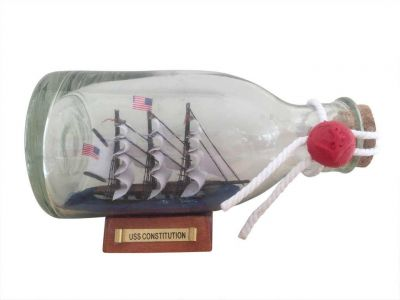USS Constitution Model Ship in a Glass Bottle 5""
