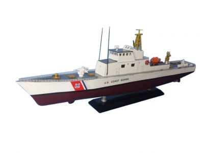 Wooden United States Coast Guard USCG Coastal Patrol Model Boat Limited 18""