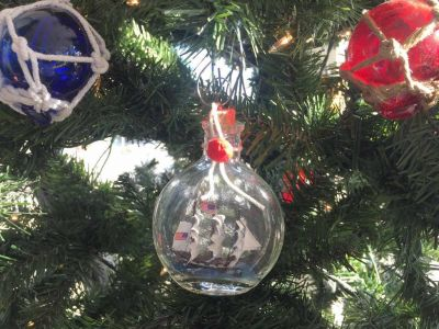 USS Constitution Model Ship in a Glass Bottle Christmas Ornament 4""