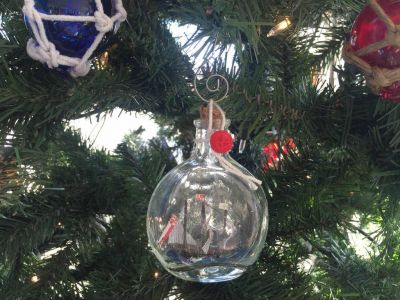 Santa Maria Model Ship in a Glass Bottle Christmas Ornament 4""