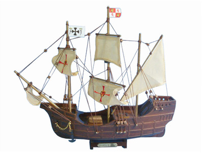 Wooden Santa Maria Tall Model Ship 14""
