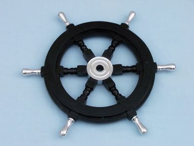 Wood and Chrome Black Pirate Ship Wheel 18 with Chrome Spokes